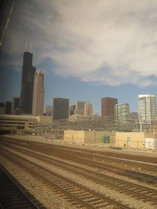 The skyscrapers of Chicago from the train as I arrived 30 minutes ago!