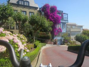 Cycling down Lombard Street.