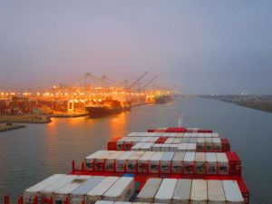 The long run into Oakland container terminal takes us into night time.