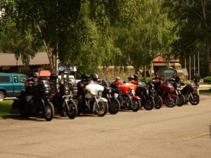 One of the many Harley Groups... Maybe better they go by bike than cars!
