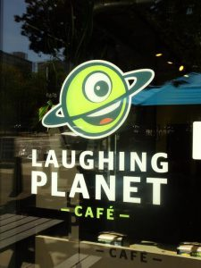 An 'aptly' named cafe in Portland... we all know our planet stopped laughing in 1970, when it could no longer support us!